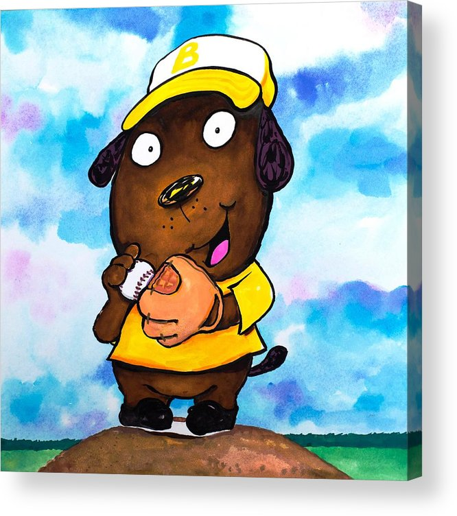 Dog Acrylic Print featuring the painting Baseball Dog 2 by Scott Nelson
