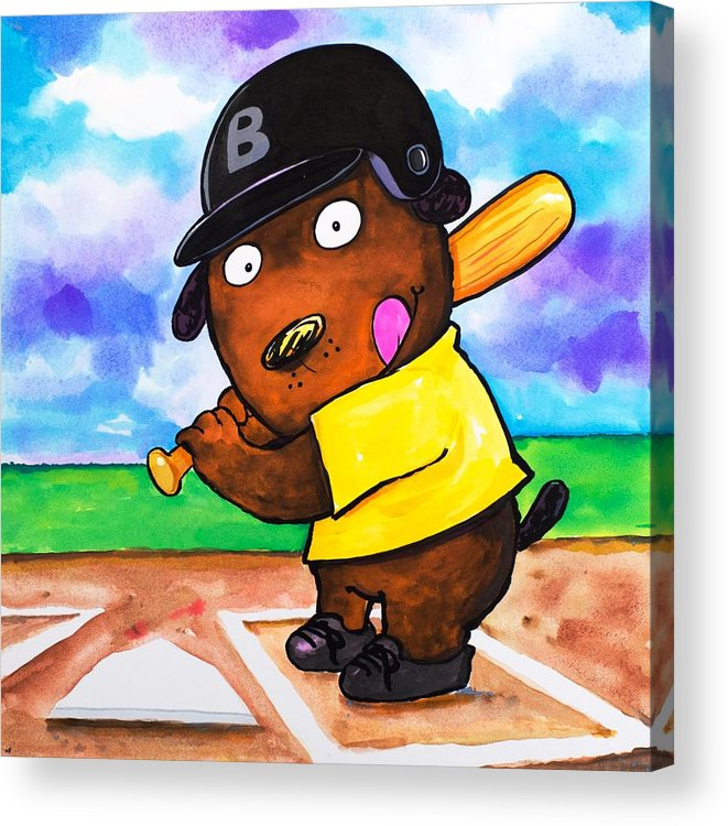 Dog Acrylic Print featuring the painting Baseball Dog by Scott Nelson