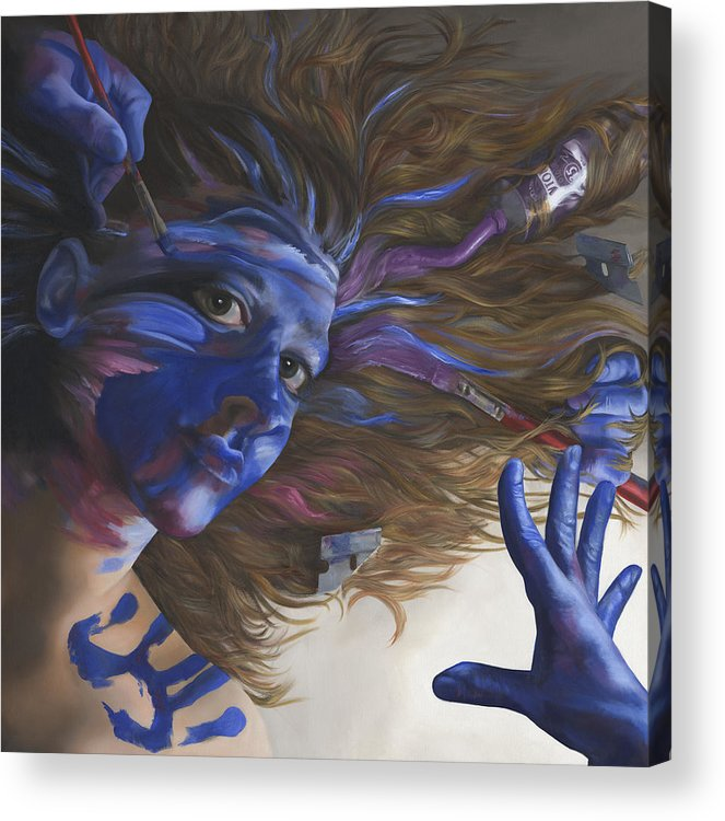 Surreal Acrylic Print featuring the painting Being Art by Katherine Huck Fernie Howard