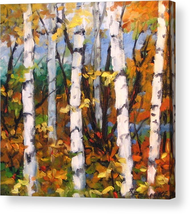 Art Acrylic Print featuring the painting Birches 03 by Richard T Pranke