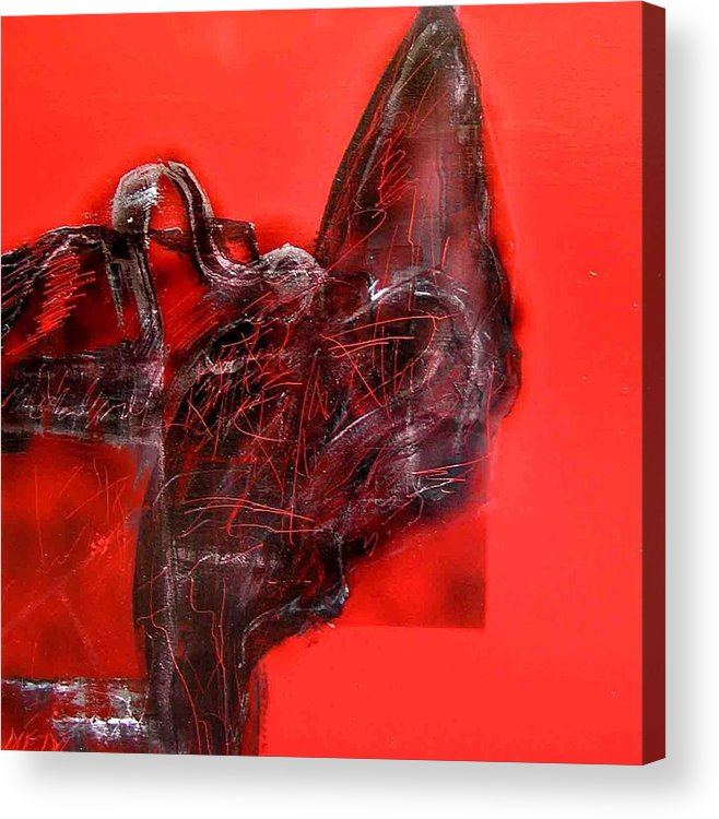 Acrylic Print featuring the painting Black On Red by Evguenia Men