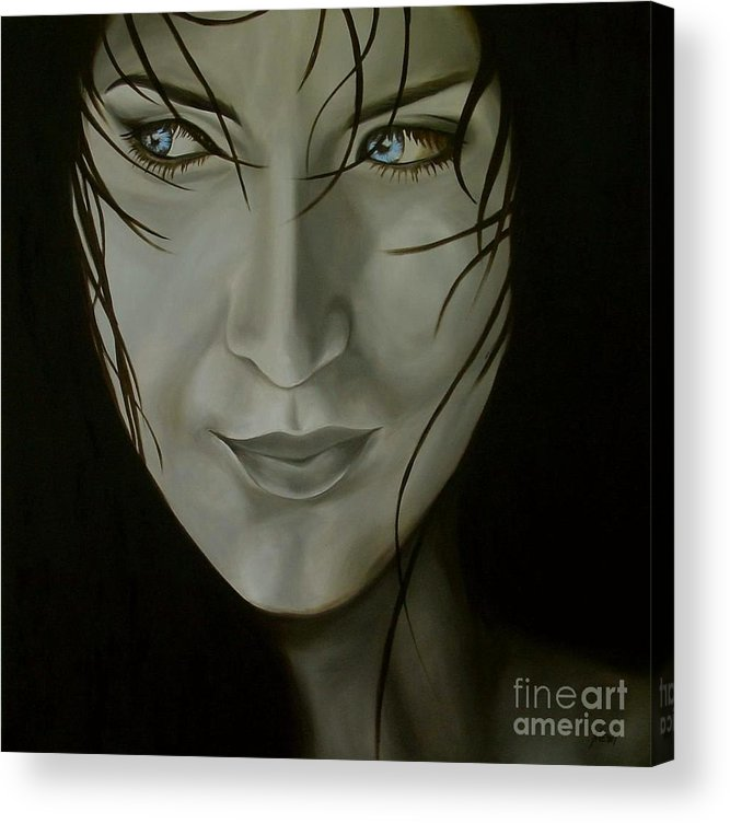 Girl Acrylic Print featuring the painting Blue-eyed Girl by Jindra Noewi