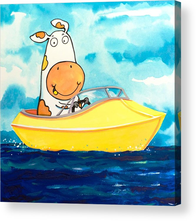 Cow Acrylic Print featuring the painting Boating Cow by Scott Nelson
