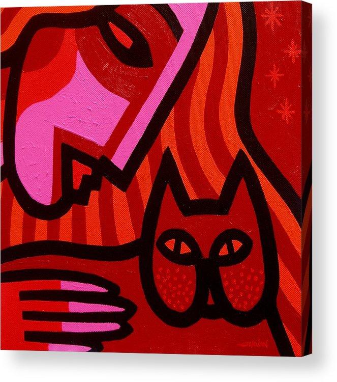 Acrylic Acrylic Print featuring the painting Cat Woman by John Nolan
