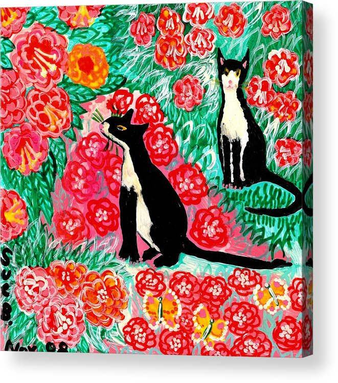 Sue Burgess Acrylic Print featuring the painting Cats And Roses by Sushila Burgess