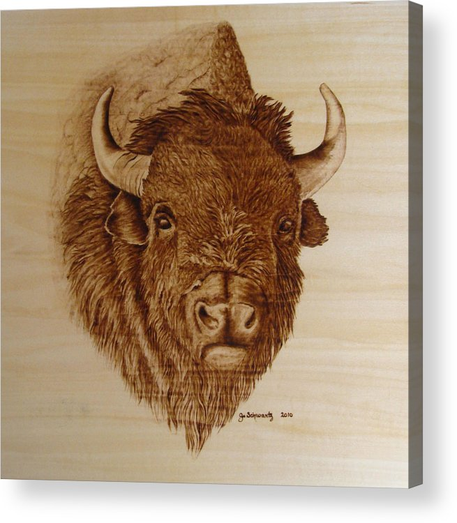 Pyrography Acrylic Print featuring the pyrography Chief by Jo Schwartz
