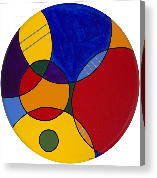 Abstract Canvas Painting Acrylic Print featuring the painting Circles Abstract 1 by Patty Vicknair
