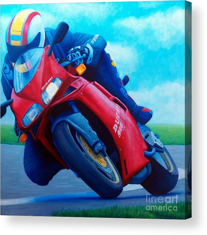 Motorcycle Acrylic Print featuring the painting Ducati 916 by Brian Commerford