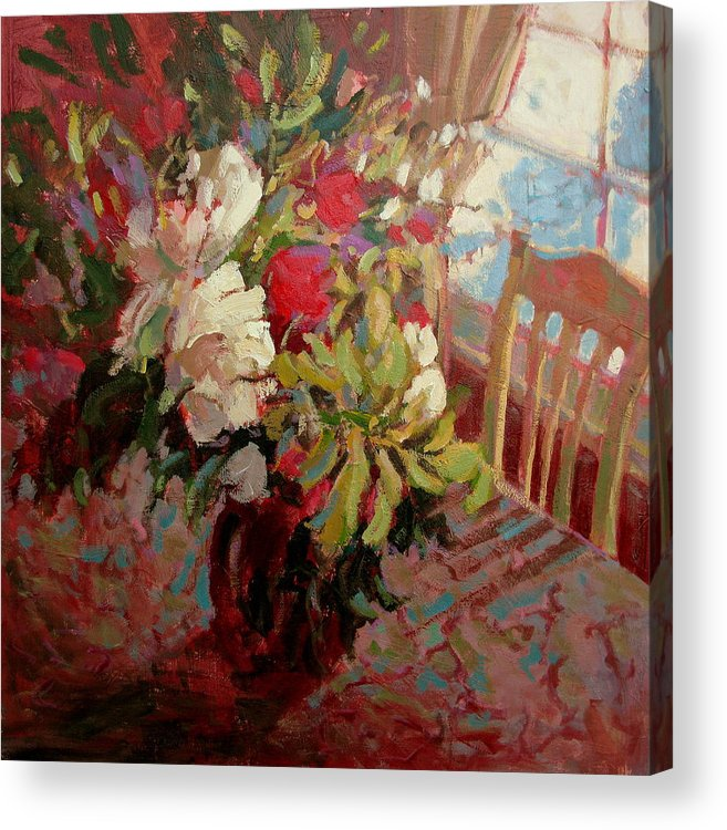 Flowers Acrylic Print featuring the painting Flowers In Soft Light by Brian Simons