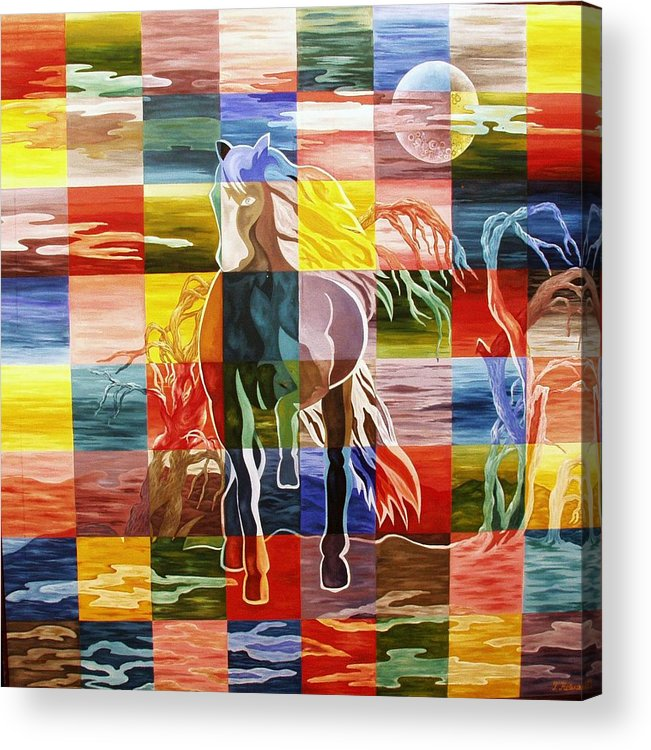 Horse; Moon; Sky; Cloud; Clouds; Tree; Trees; Night; Acrylic Print featuring the painting Galloping In The Night by Netka Dimoska