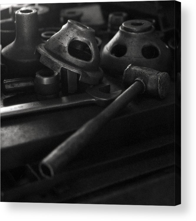 Black And White Acrylic Print featuring the digital art Garage Hammer And Tools by George Ferrell