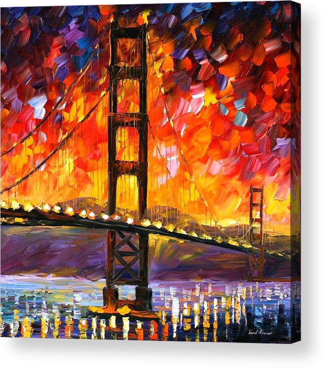 City Acrylic Print featuring the painting Golden Gate Bridge by Leonid Afremov