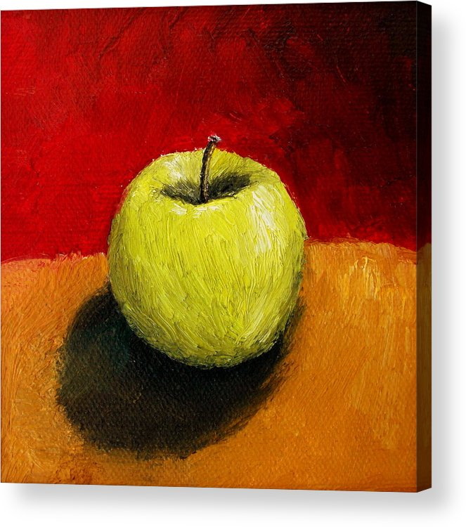 Apple Acrylic Print featuring the painting Green Apple With Red And Gold by Michelle Calkins