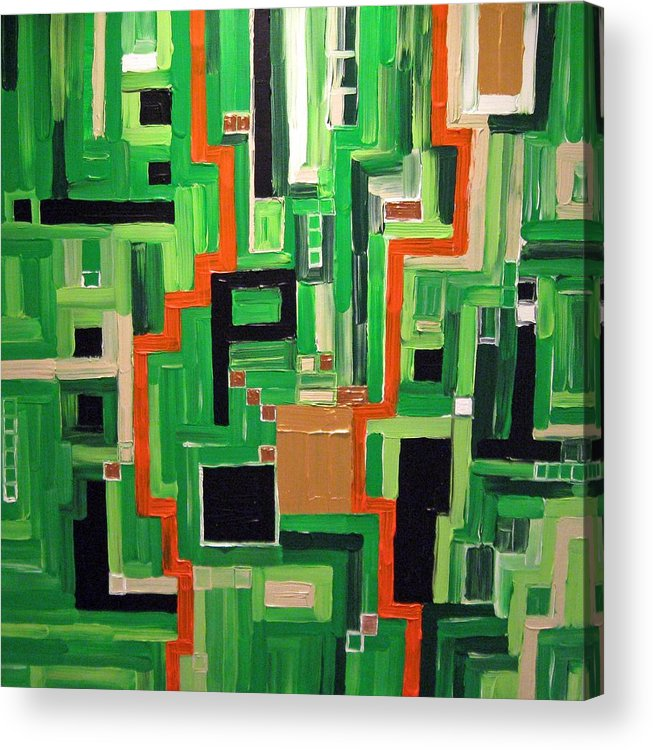Modern Acrylic Print featuring the painting Greens by Katerina Wagner