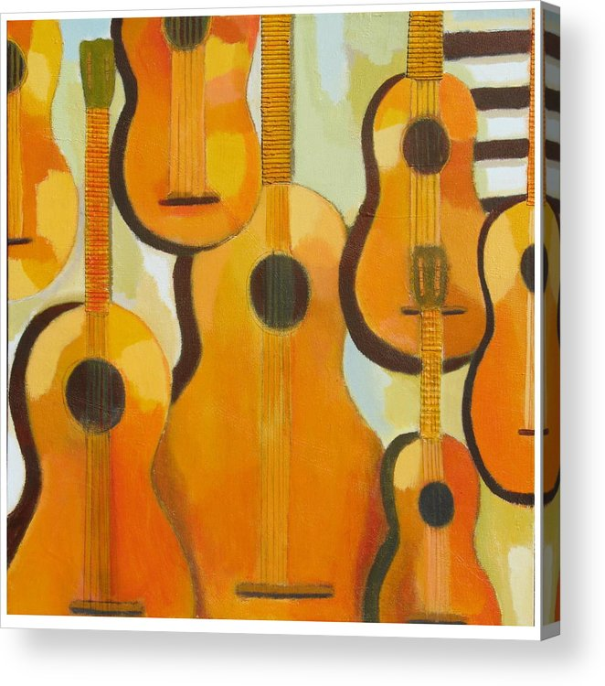 Abstract Acrylic Print featuring the painting Guitars by Habib Ayat