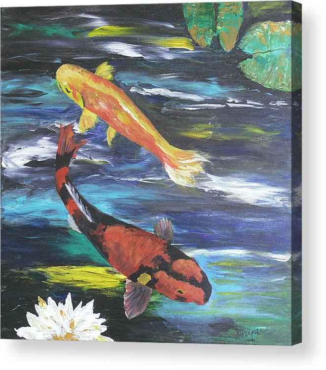 Koi Acrylic Print featuring the painting Hi Utsuri And Doitsu Koi by Barbara Harper