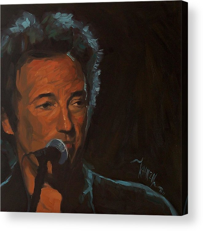 Bruce Springsteen Acrylic Print featuring the painting It's Boss Time - Bruce Springsteen Portrait by Khairzul MG
