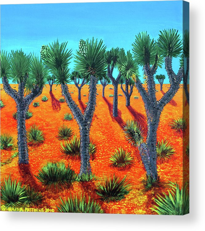 Joshua Acrylic Print featuring the painting Joshua Trees by Charles and Stacey Matthews