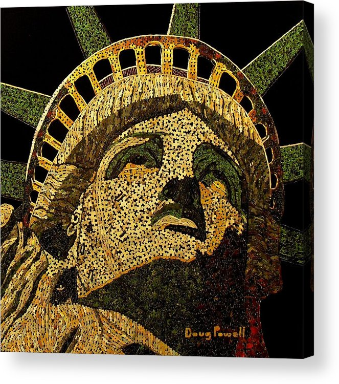 Statue Of Liberty Acrylic Print featuring the mixed media Lady Liberty by Doug Powell