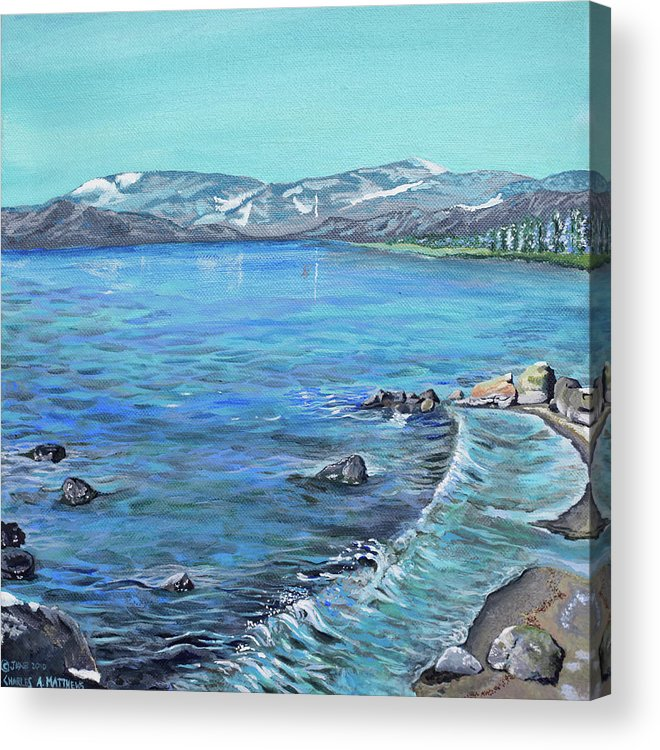 Lake Acrylic Print featuring the painting Lake Tahoe From Kings Beach California by Charles and Stacey Matthews