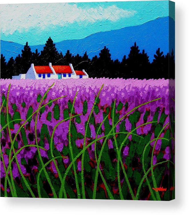 Lavender Acrylic Print featuring the painting Lavender Field - County Wicklow - Ireland by John Nolan