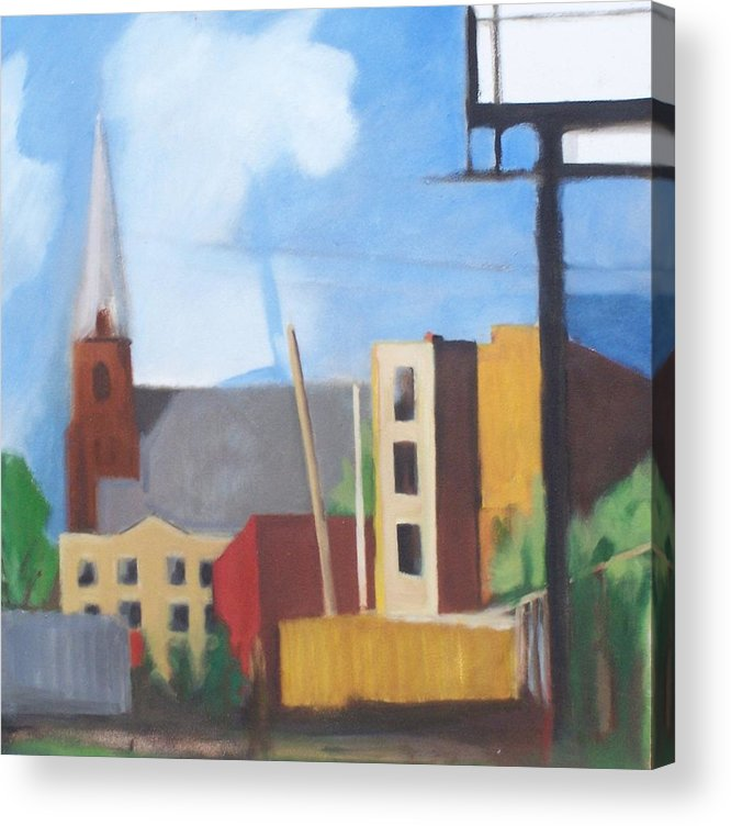 Landscape Acrylic Print featuring the painting Long Island City Church by Ron Erickson