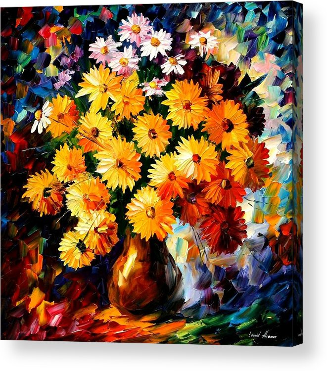 Flowers Acrylic Print featuring the painting Love Irradiation by Leonid Afremov
