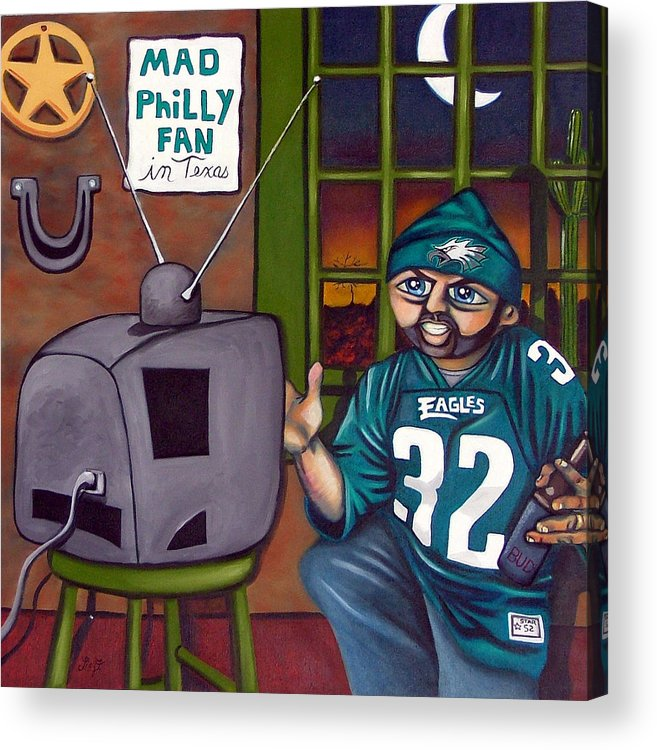 Philadelphia Acrylic Print featuring the painting Mad Philly Fan In Texas by Elizabeth Lisy Figueroa