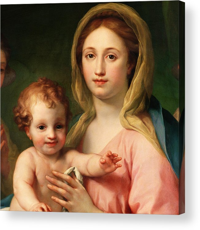 Mary Acrylic Print featuring the painting Madonna And Child by Anton Raphael Mengs
