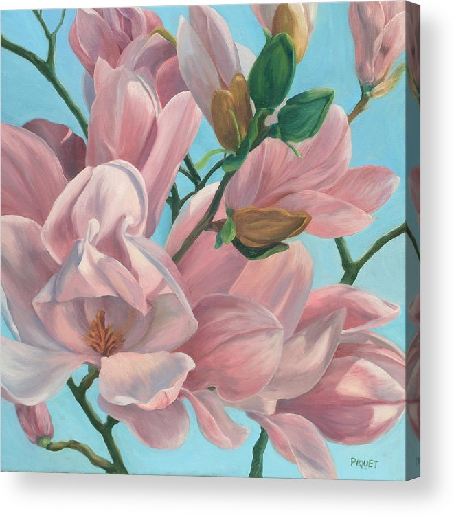 Flower Acrylic Print featuring the painting Magnolia by Rita-Anne Piquet