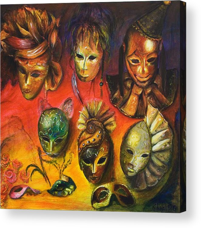Masks Acrylic Print featuring the painting Making Faces IIi by Nik Helbig