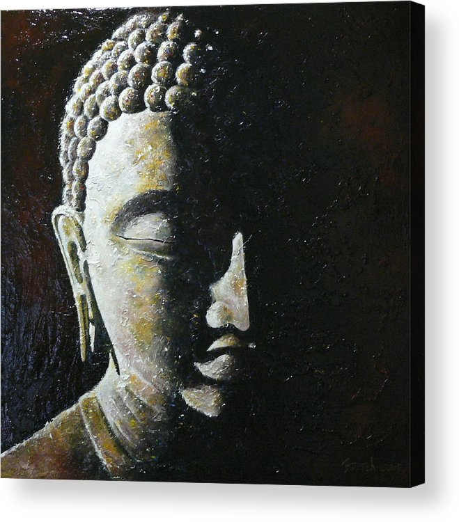 Buddha Acrylic Print featuring the painting Meditation 1 by Eddie Lim