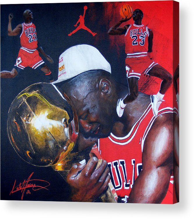 Portrait Acrylic Print featuring the painting Michael Jordan by Luke Morrison