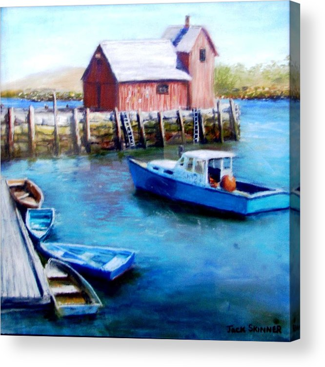 Motif One Acrylic Print featuring the painting Motif One Rockport Harbor by Jack Skinner