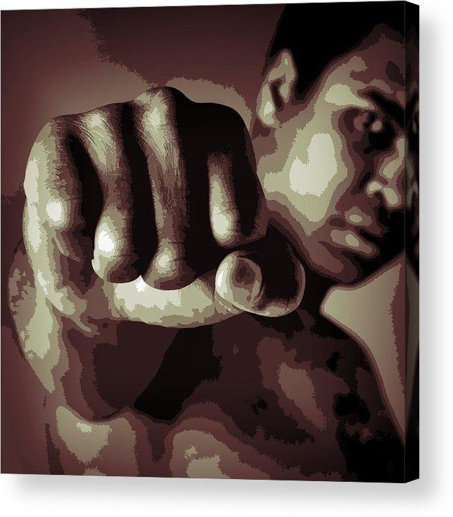 Muhammad Ali Fist Poster Acrylic Print featuring the digital art Muhammad Ali Fist Poster by Dan Sproul