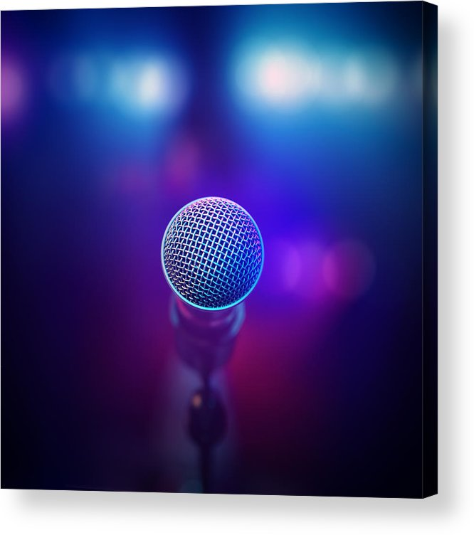 Microphone Acrylic Print featuring the photograph Musical Microphone On Stage by Johan Swanepoel