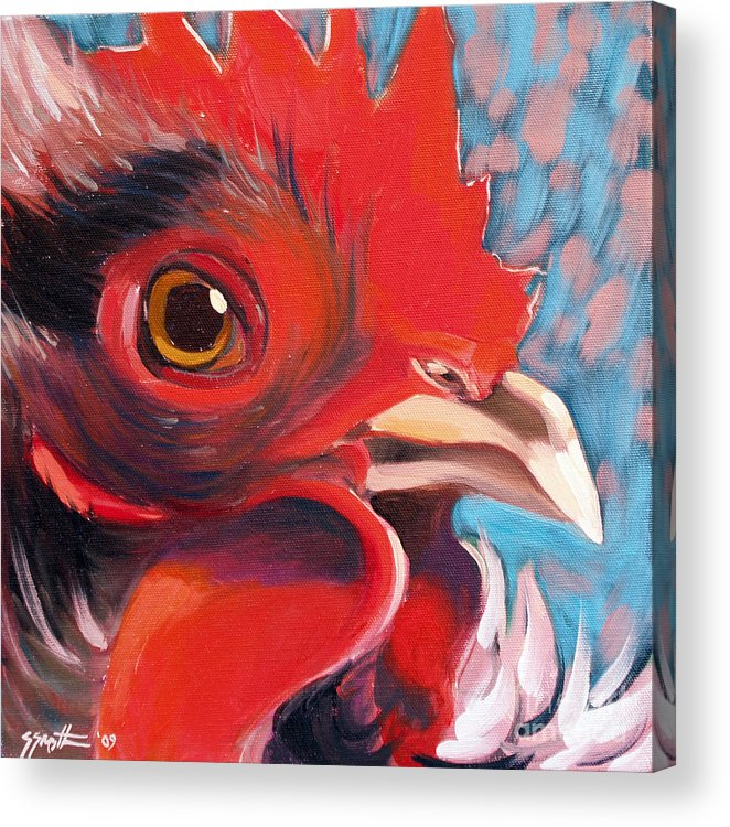 Animals Acrylic Print featuring the painting Oeil De Poulet by Sandra Smith-Dugan