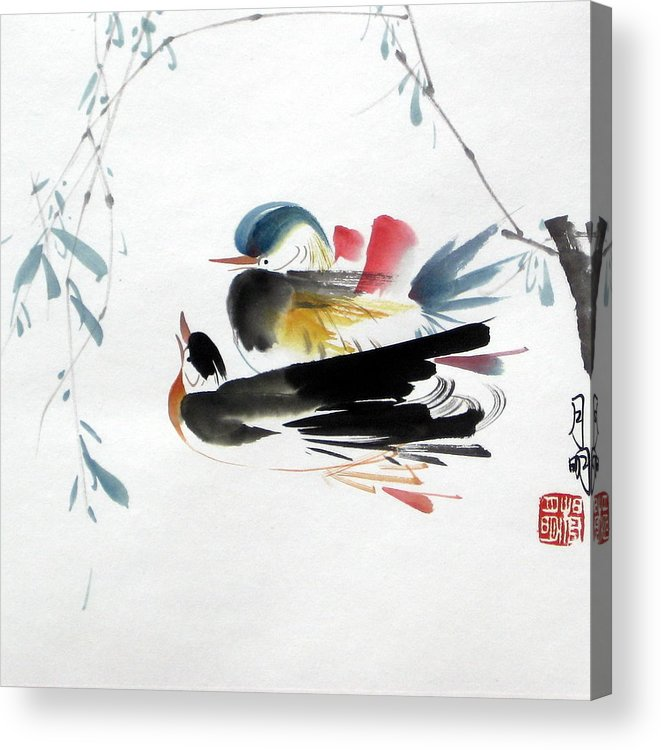 Chinese Painting Acrylic Print featuring the painting Perfect Match by Ming Yeung