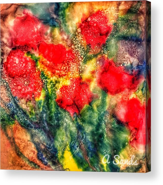 Floral Acrylic Print featuring the painting Red Floral Abstract by Anne Sands