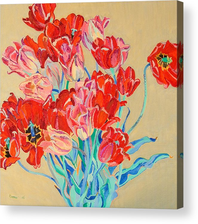 Flowers Acrylic Print featuring the painting Red Tulips With Gold Background by Vitali Komarov