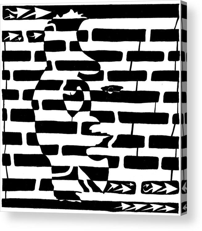 Saxophone Acrylic Print featuring the drawing Saxophone Player Or Woman Maze by Yonatan Frimer Maze Artist