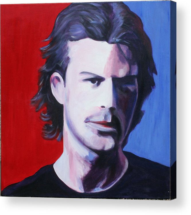 Portrait Acrylic Print featuring the painting Solo Man by Fiona Jack