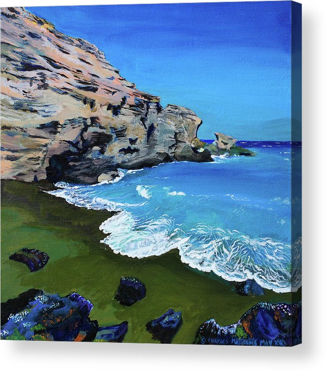 Beach Acrylic Print featuring the painting The Green Beach The Big Island Hawaii by Charles and Stacey Matthews