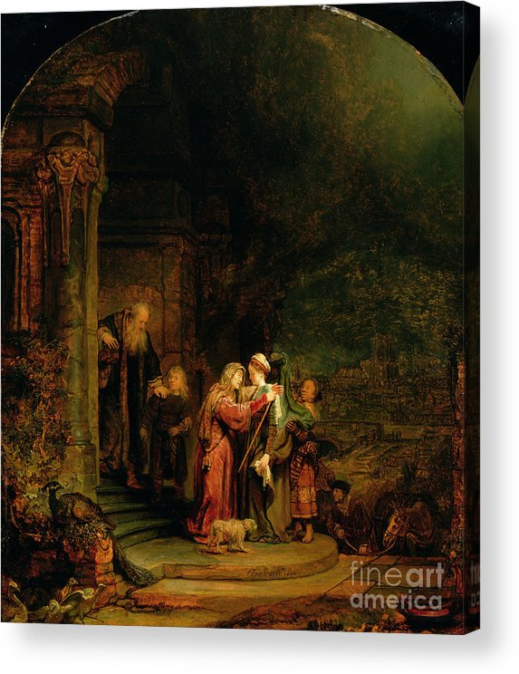 The Acrylic Print featuring the painting The Visitation by Rembrandt Harmensz van Rijn