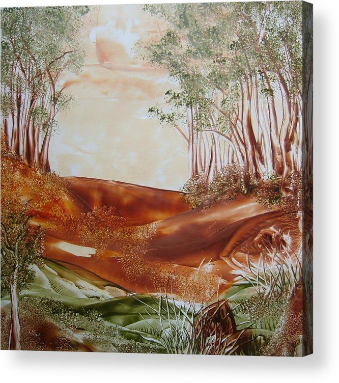 Encaustic Acrylic Print featuring the painting The Wood by Marketa Cejkova
