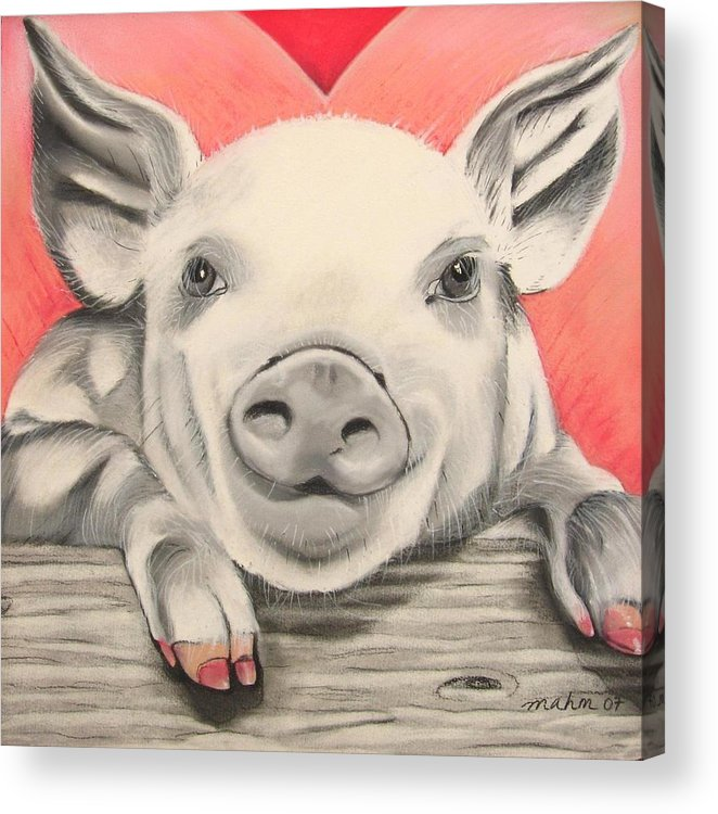 Painting Of A Pig Acrylic Print featuring the pastel This Little Piggy... by Michelle Hayden-Marsan