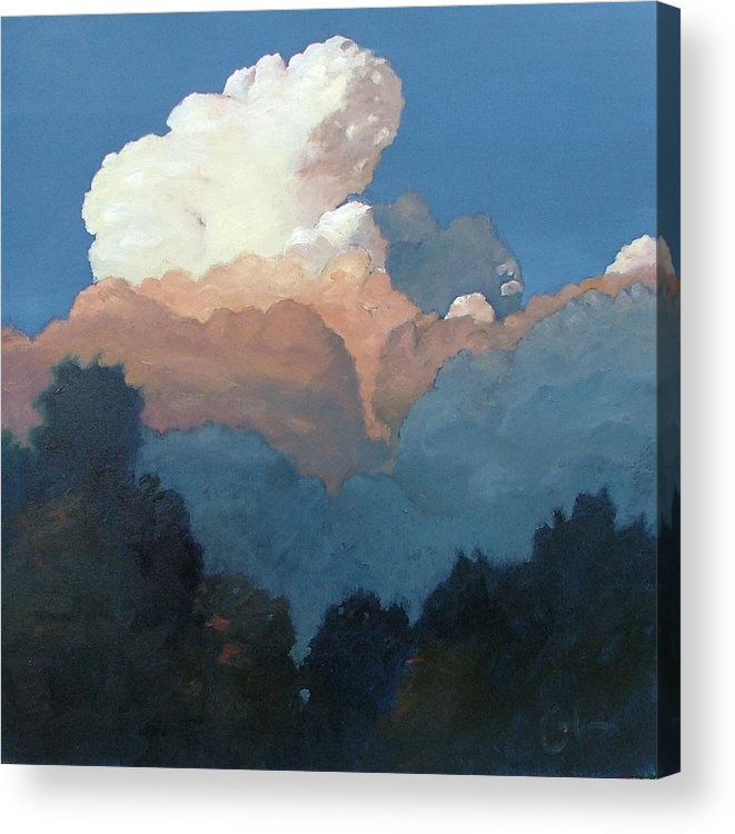 Cloud Acrylic Print featuring the painting Thundercap Rising In Santa Fe by Gary Coleman