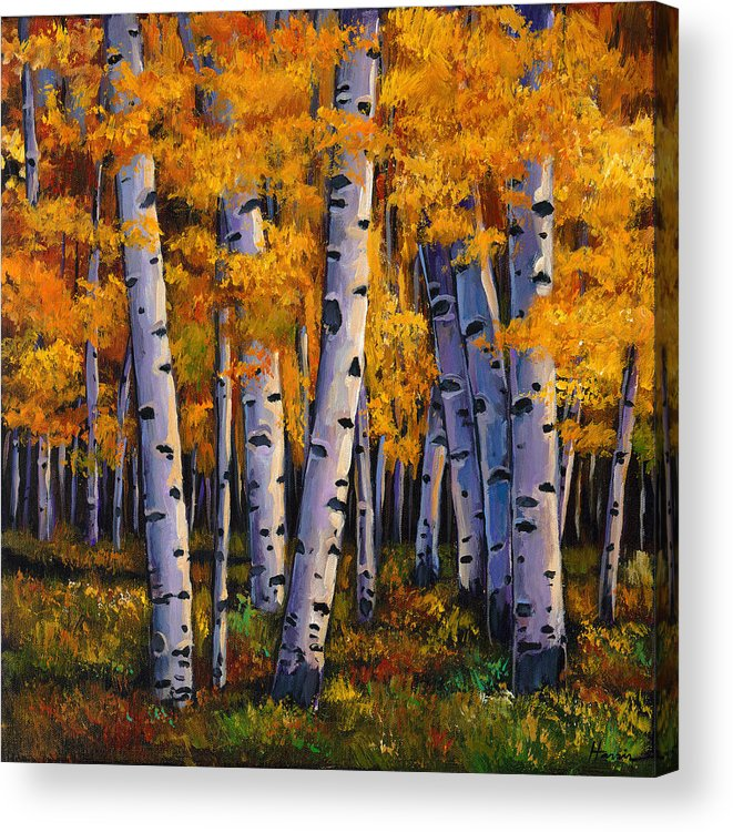 Autumn Aspen Acrylic Print featuring the painting Whispers by Johnathan Harris