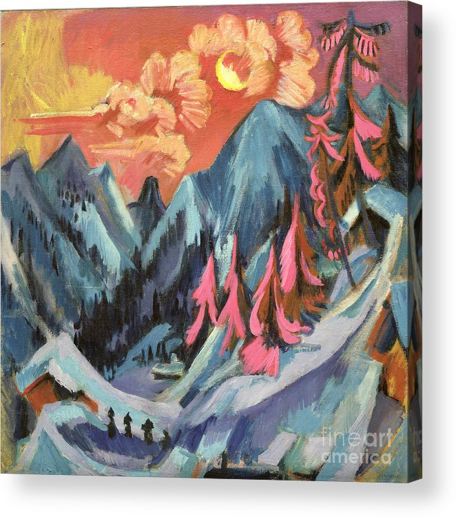 Winter Acrylic Print featuring the painting Winter Landscape In Moonlight by Ernst Ludwig Kirchner