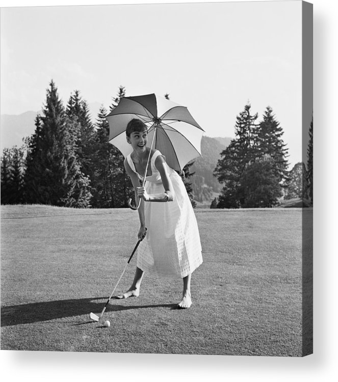 Belgium Acrylic Print featuring the photograph Golfing Hepburn by Hulton Archive
